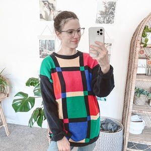 Vintage 90's Color Block Knit Sweater